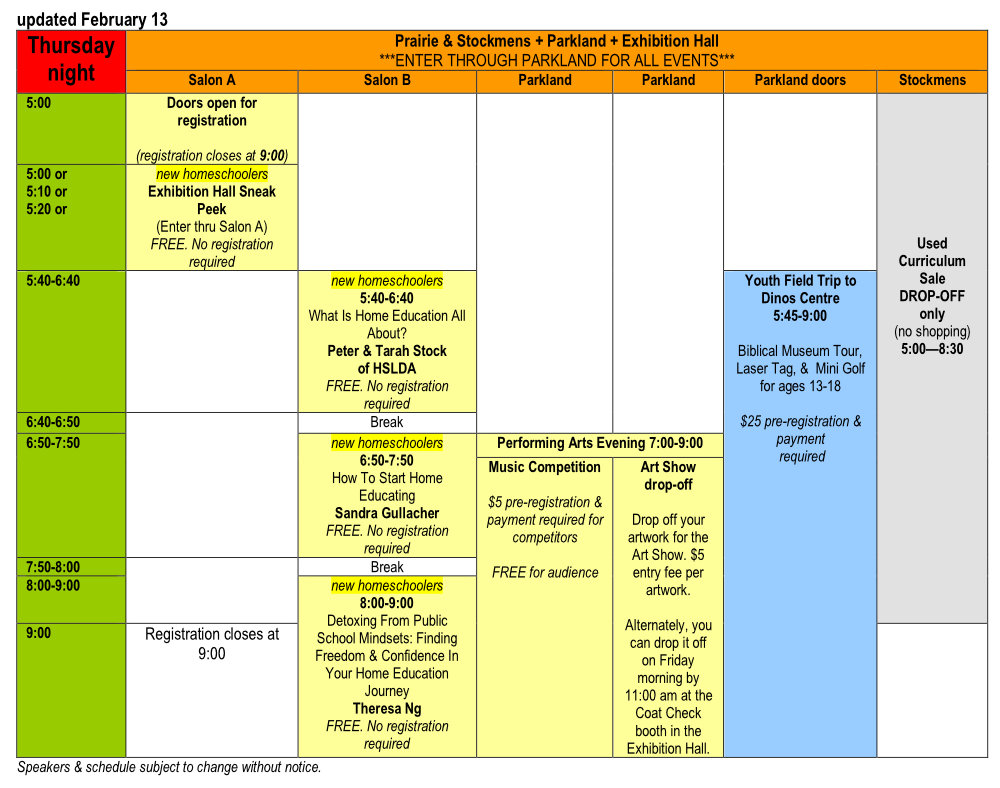 Thursday's Schedule | AHEA Homeschooling Convention